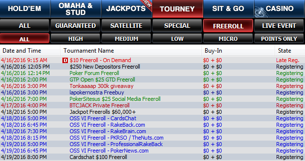 Freeroll Poker Tournaments Page