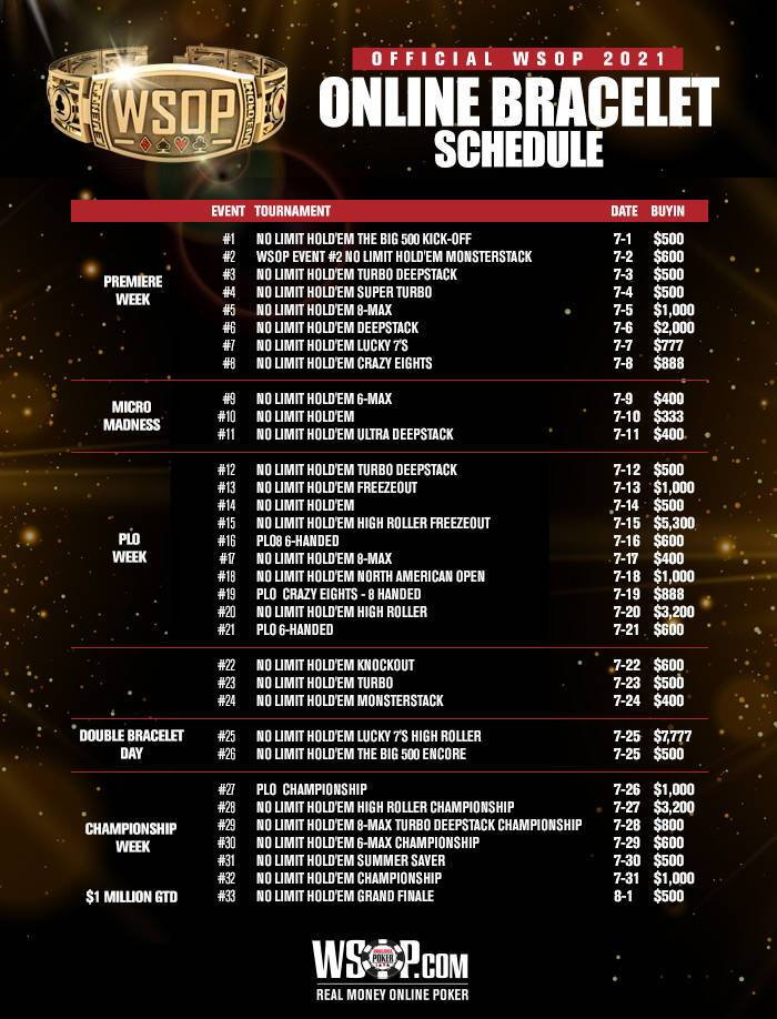 2021 WSOP Online US Bracelet Schedule